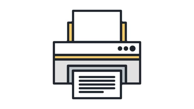 Printer Repair & Maintenance Line Icon Animation with Alpha