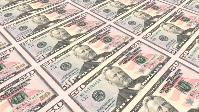 vidéos et rushes de impression de billets de 50 dollars. loopable - hôtel de la monnaie