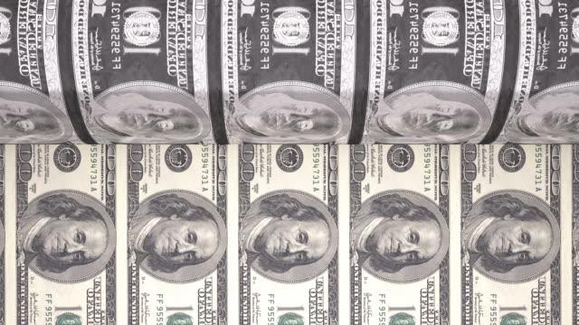 vídeos y material grabado en eventos de stock de 4 k impresión dólar bills/en bucle - benjamín franklin