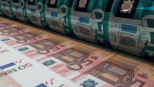 50ユーロ紙幣、ループ可能な印刷 - order点の映像素材/bロール