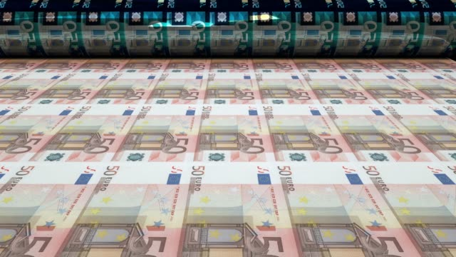 printing fifty euro bills, loopable - printing out stock videos & royalty-free footage