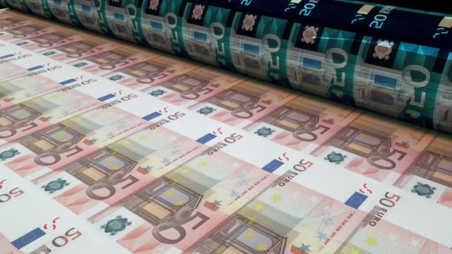 printing fifty euro bills, loopable - european union stock videos & royalty-free footage