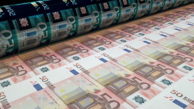 printing fifty euro bills, loopable - printing press stock videos & royalty-free footage