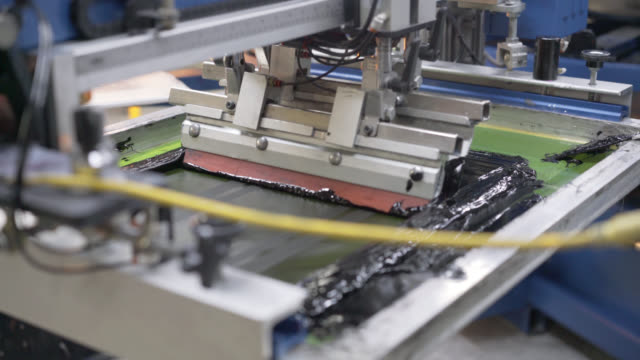 printing machine at a clothing factory - fashion industry stock videos & royalty-free footage