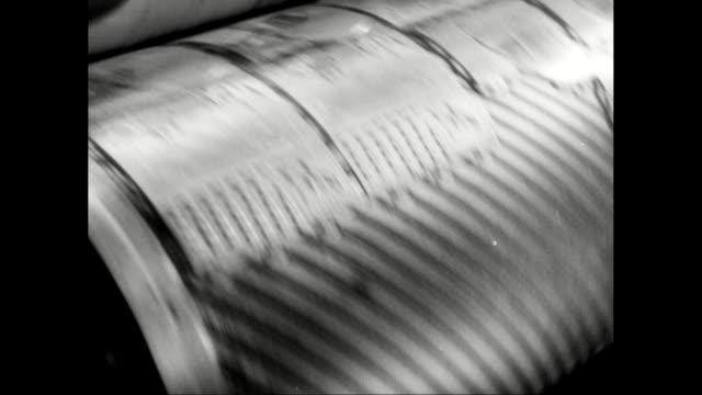 vídeos de stock, filmes e b-roll de cu printing machine part turning in printing press / united states - movimento perpétuo