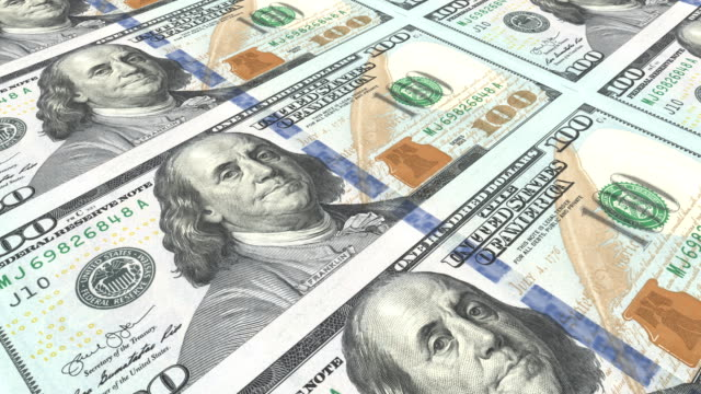 printing new 100 dollar bills. close-up. loopable - american one hundred dollar bill stock videos & royalty-free footage
