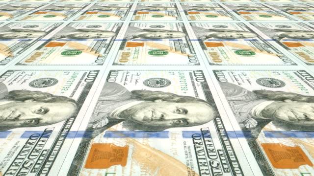 vídeos y material grabado en eventos de stock de imprimir nuevas facturas de $100 dólares   loopable - casa de la moneda