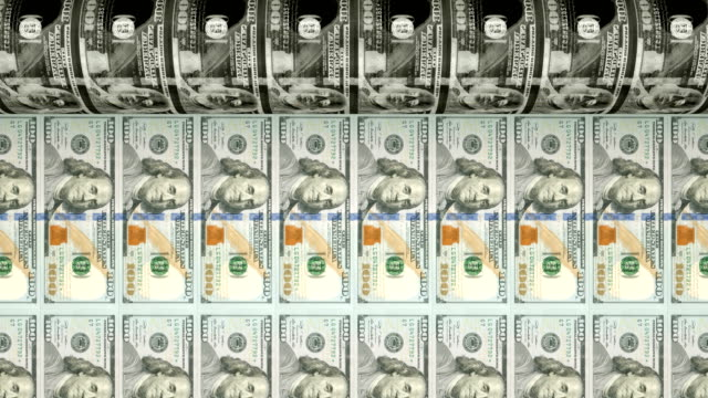 printing new $100 dollar bills | loopable - american one hundred dollar bill stock videos & royalty-free footage