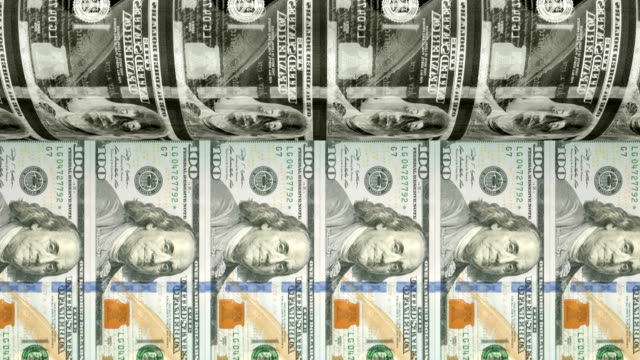 printing new $100 dollar bills | loopable - pressa da stampa video stock e b–roll