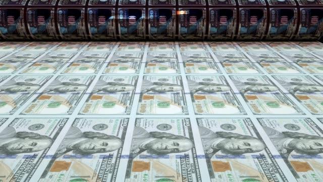 vidéos et rushes de impression de billets de cent dollars, loopable - hôtel de la monnaie