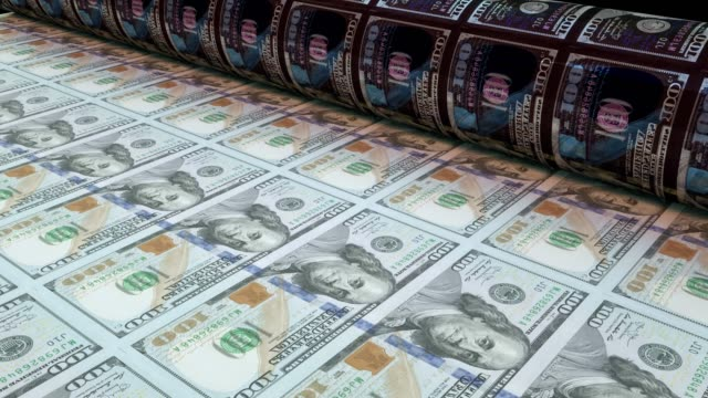 printing one hundred dollar bills, loopable - american one hundred dollar bill stock videos & royalty-free footage
