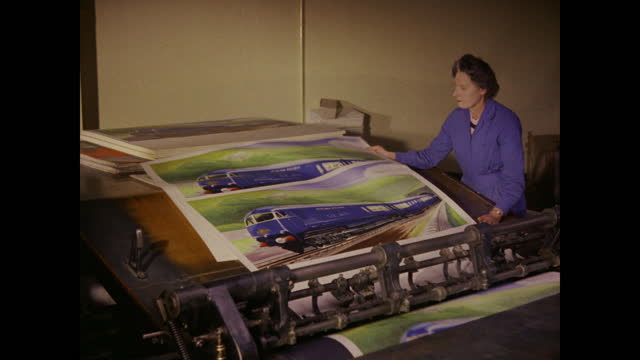 1960 - printing press turning out posters, united kingdom - poster stock videos & royalty-free footage