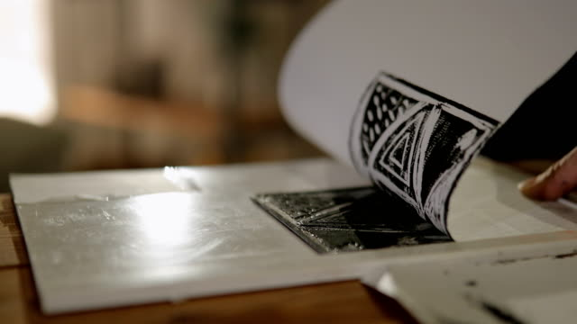 printmaker artist at work - craftsman stock videos and b-roll footage