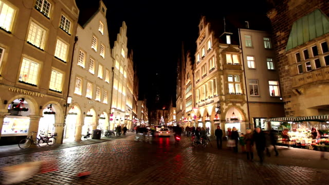prinzipalmarkt in münster, germany - time lapse - advent stock videos & royalty-free footage