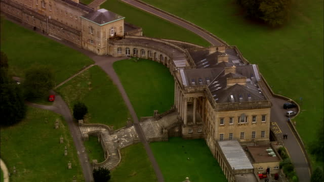 LOW AERIAL, Prior Park Landscape Garden and Bath, Somerset, England