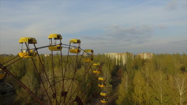 stockvideo's en b-roll-footage met pripyat abandoned city near chernobyl nuclear power plant - kernramp van tsjernobyl