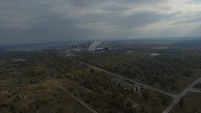 Pripyat abandoned town near Chernobyl Nuclear Power Plant. Flight back from ChNPP and flight to Pripyat