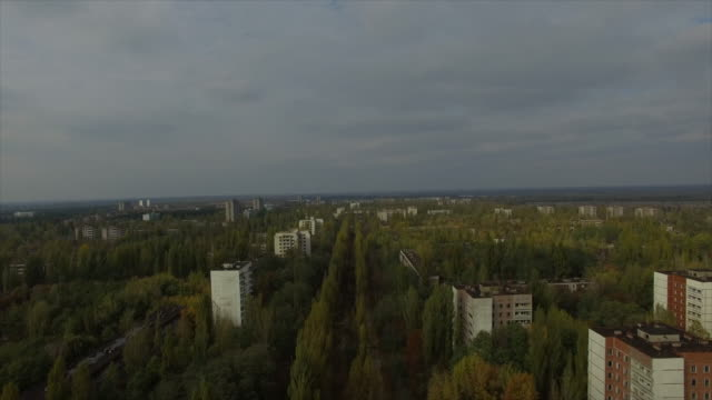 Pripyat abandoned town near Chernobyl Nuclear Power Plant. Takeoff above center of Pripyat. Part 2of2.