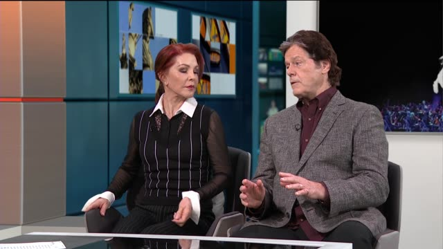 priscilla presley and jerry schilling interview on royal philharmonic orchestra accompanying elvis' music; england: london: gir: priscilla presley... - プリシラ プレスリー点の映像素材/bロール