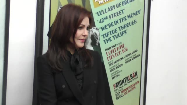 priscilla presley at the opening night of 'i only have eyes for you' at the ricardo montalban theatre in hollywood at celebrity sightings in los... - プリシラ プレスリー点の映像素材/bロール