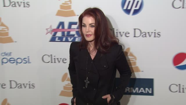 priscilla presley at the pre-grammy gala & salute to industry icons with clive davis honoring david geffen at beverly hills ca. - プリシラ プレスリー点の映像素材/bロール