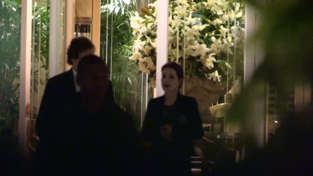 priscilla presley departs the paul mccartney concert after party at the four seasons hotel in beverly hills in celebrity sightings in los angeles, - プリシラ プレスリー点の映像素材/bロール