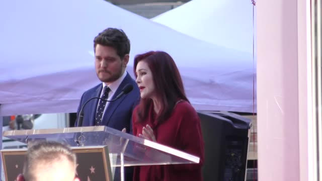 priscilla presley speaks at michael buble's hollywood walk of fame star ceremony in hollywood at celebrity sightings in los angeles on november 16,... - プリシラ プレスリー点の映像素材/bロール