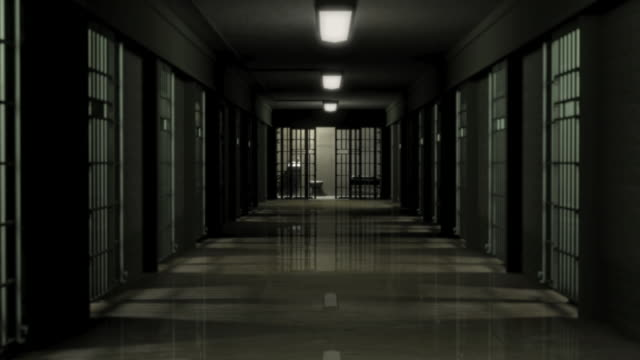 vidéos et rushes de ds, prison hallway and empty cell, brooklyn, new york, new york city, usa - prison