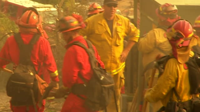 prison inmates volunteering as firefighters to help stop wildfires in california - prisoner stock videos & royalty-free footage