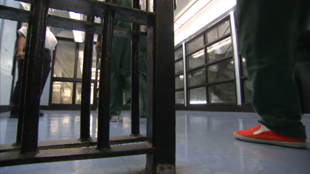 Prison inmates walk through a security gate.