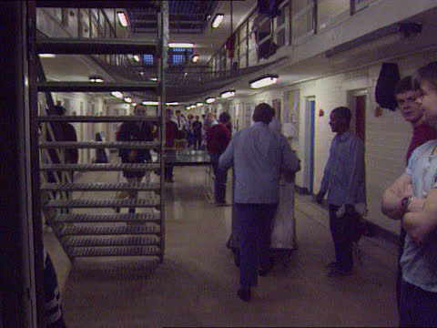 prison service security; c) lib tx 28.1.95 england: isle of wight: ext / dusk tgv parkhurst prison with lights on more ditto int central staircase as... - prison stock videos & royalty-free footage