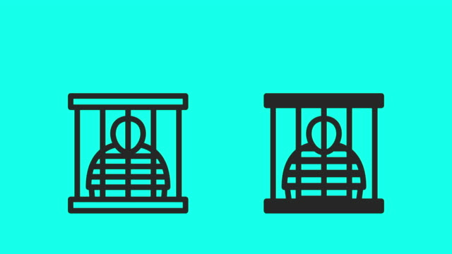 prisoner icons - vector animate - prisoner vector video stock e b–roll