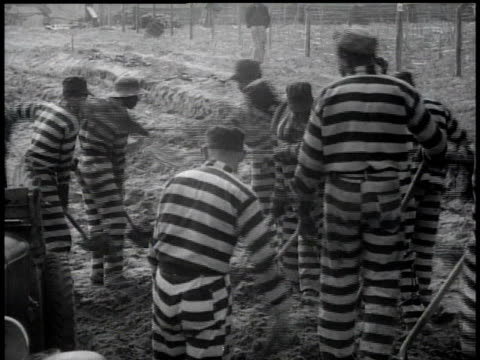1938 ws prisoners at work shoveling / georgia, usa - chain stock videos & royalty-free footage