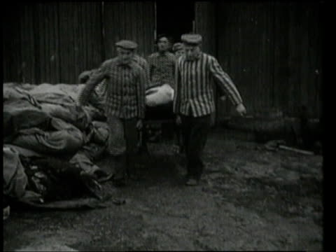 prisoners carrying people on stretchers / oswiecim germany - olocausto video stock e b–roll