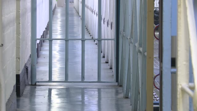 pga president says government overhaul is 'perverse' r100417001 / 1042017 yorkshire leeds hm prison leeds metal gate and corridor inside leeds prison - federal prison stock videos & royalty-free footage