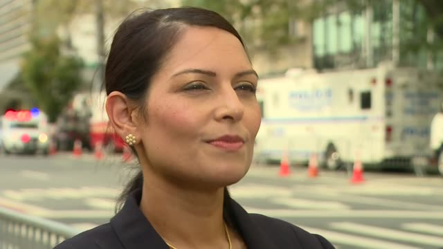 new york new york city ext priti patel mp interview sot re cabinet divisions / brexit / un reform - priti patel stock-videos und b-roll-filmmaterial