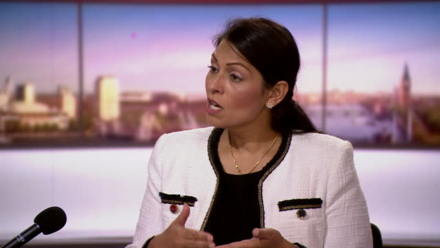 """priti patel on marr there will be support going into leicester after coronavirus outbreak - """"bbc news"""" stock videos & royalty-free footage"""
