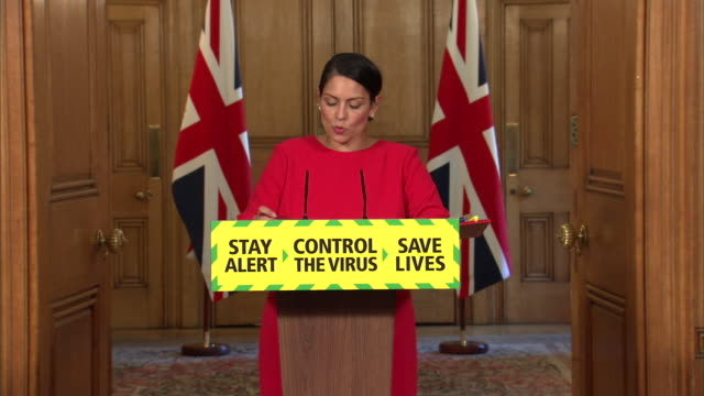 priti patel saying imported cases of coronavirus could pose a larger and increased threat - home secretary stock videos & royalty-free footage