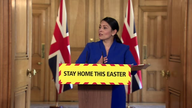 priti patel saying the government are working with suppliers and manufacturers to bolster the supply of ppe during the coronavirus crisis - pillow stock videos & royalty-free footage