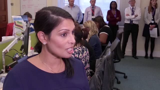 priti patel secretary of state for international development says there are 1000 british soldiers and more than 50 police officers in the caribbean... - priti patel stock-videos und b-roll-filmmaterial