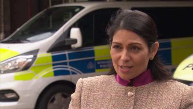 priti patel visits ealing police station / interview; england: london: ealing police station: ext priti patel mp interview sot. -q: tier 2... - authority stock videos & royalty-free footage