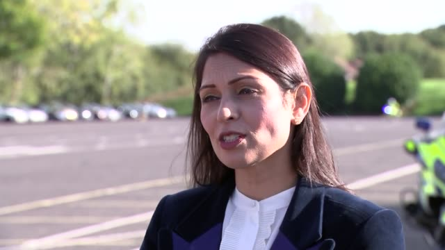 priti patel visits kent police college in maidstone england kent maidstone kent police college ext priti patel mp interview sot on brexit we are... - priti patel stock-videos und b-roll-filmmaterial