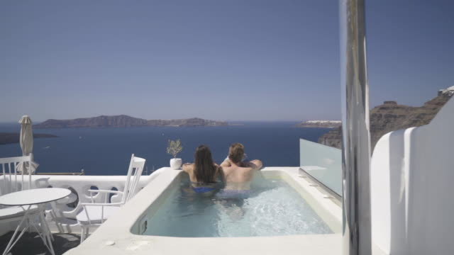 private balcony whirlpoo couple vacations slow motion