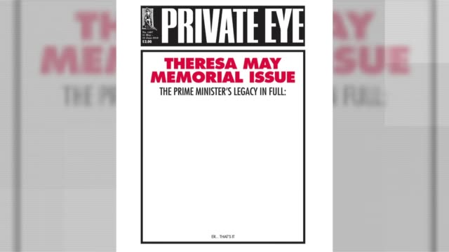 private eye annual launched: ian hislop interview; private eye magazine cover on the legacy of former prime minister theresa may - ian hislop stock videos & royalty-free footage