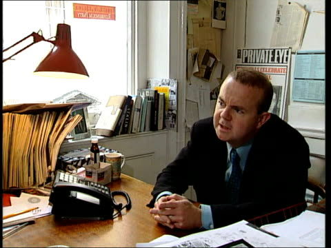 one thousand issue review; ian hislop interview sot - perennially accused of selling out and being part of the establishment / worth remembering that... - ian hislop stock videos & royalty-free footage