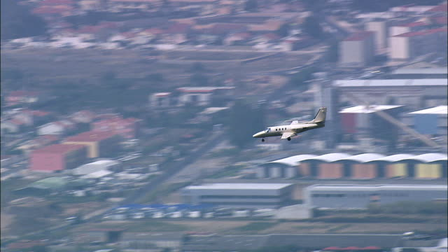 AERIAL WS TS Private plane landing / Sintra, Lisbon, Portugal