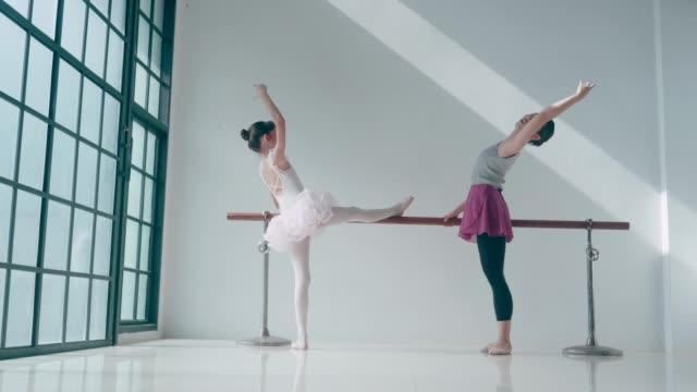 private trainer of thai teacher and cute ballet dancer at dance studio - body abbigliamento sportivo video stock e b–roll