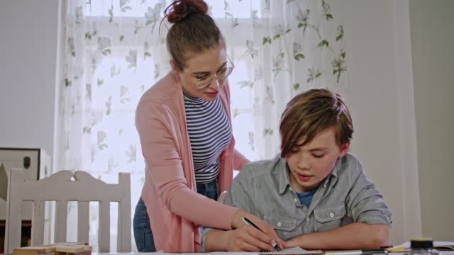 private tutoring lesson for a 10 years old male school child while doing homework together with female tutor in her mid twenties - 25 29 years stock videos & royalty-free footage