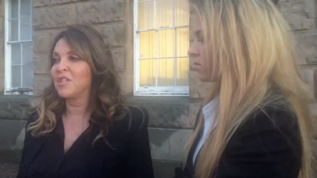 priya mckendrick and daughter scarlett speak outside chester crown court after the sentencing of karine solloway paul prior iain mcgarry and kimpton... - chester cheshire stock-videos und b-roll-filmmaterial