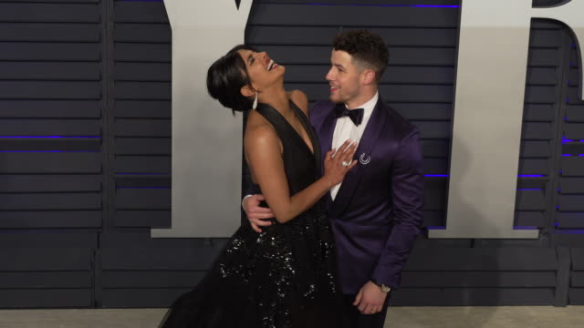 Priyanka Chopra and Nick Jonas at 2019 Vanity Fair Oscar Party Hosted By Radhika Jones at Wallis Annenberg Center for the Performing Arts on February...